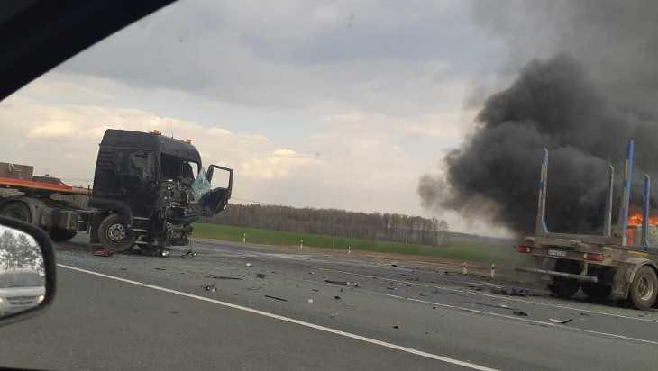 Под Выгоничами столкнулись две фуры: один грузовик сгорел