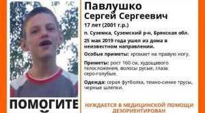 В Брянской области пропал 17-летний Сергея Павлушко