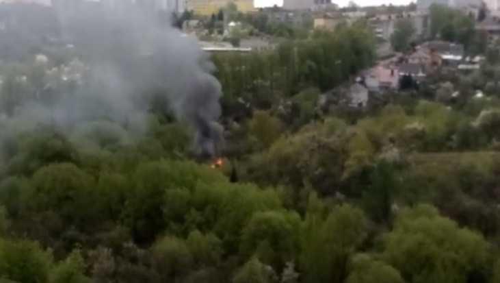 В Брянске сняли видео пожара в Нижнем Судке