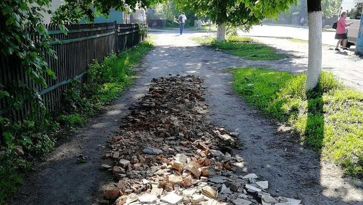 Жители Брянска возмутились самодеятельным ремонтом дорожки