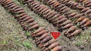 В Бытоши нашли 48 старых мин от советского миномета