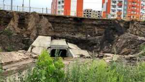 Ливень нанес опасные разрушения дамбе на шоссе Брянск – Смоленск