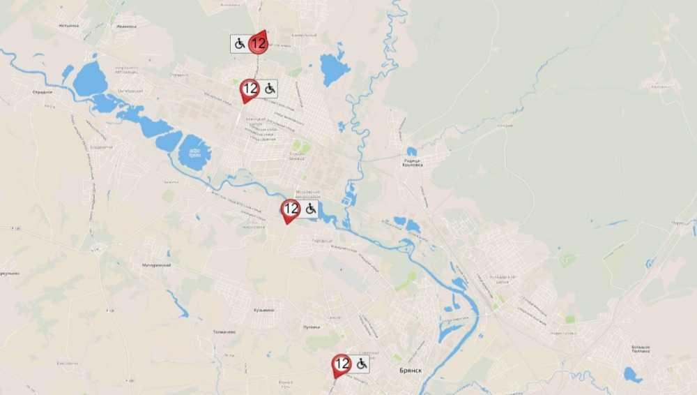 В Брянске автобусы 12-го маршрута добавили на карту онлайн-сервиса