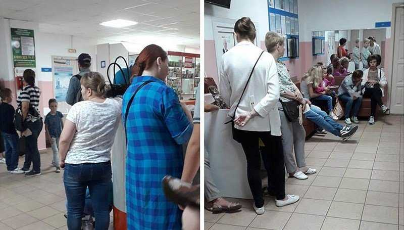 В Брянске сняли фото очереди в детскую поликлинику №3
