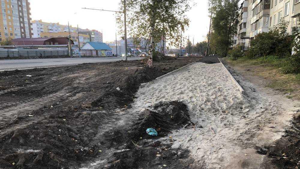 В Брянске на Авиационной улице впервые проложили тротуар