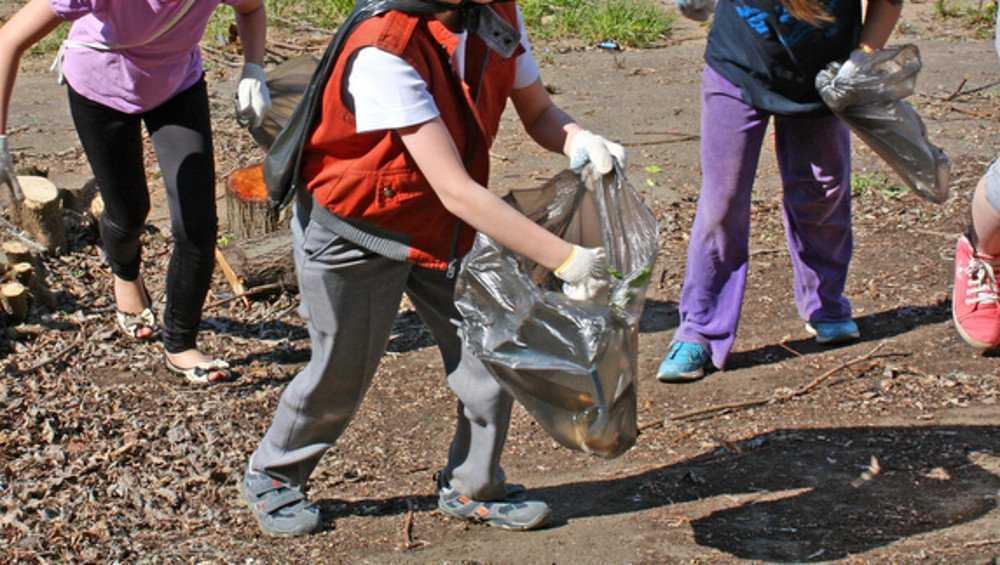 В Клинцах малышей вывели на уборку мусора в городе
