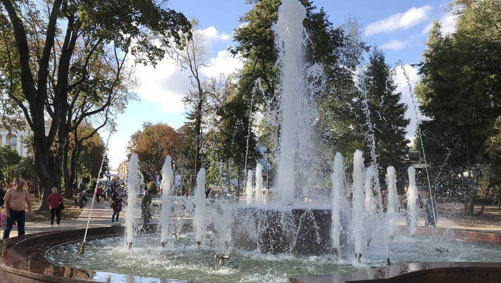 В Брянске залила Круглый сквер поломанная вандалами трубка фонтана