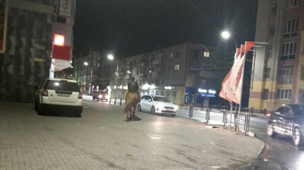 В Брянске по улице Дуки на лошади проехал загадочный всадник