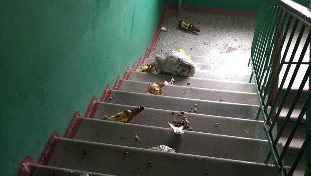 Жители Брянска мусором завалили собственный подъезд