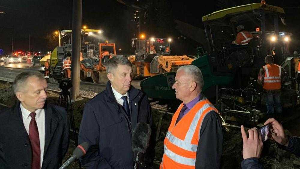 Брянский губернатор на Авиационной и Советской проверил ремонт дорог