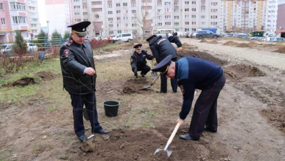 В Брянске полицейские посадили 166 деревьев на аллее памяти
