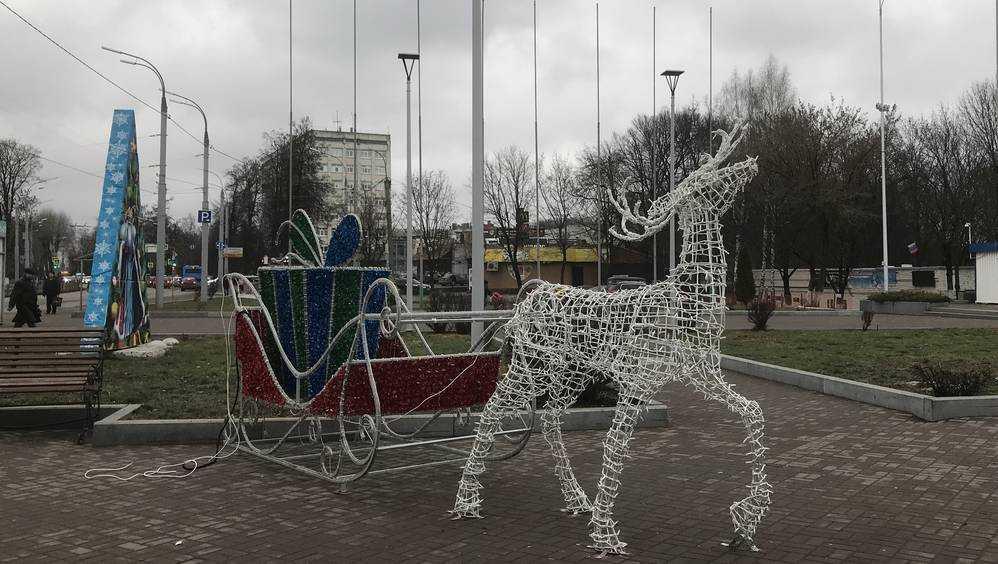 В Брянске по площади Воинской славы полетела оленья упряжка