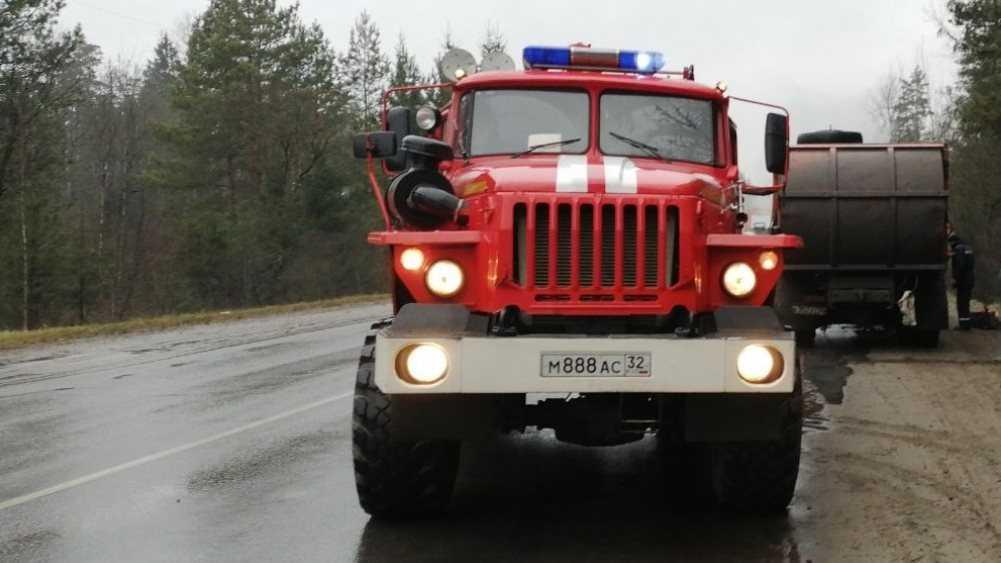 Под Дятьковом на трассе сгорел грузовик