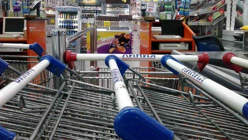 Брянские покупатели стали катать в продуктовых тележках детей