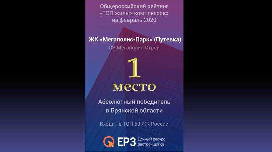 «Мегаполис-Парк» признан абсолютным победителем среди жилых комплексов Брянской области