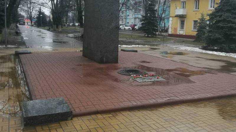 В Брянске возле ДК железнодорожников погас Вечный огонь
