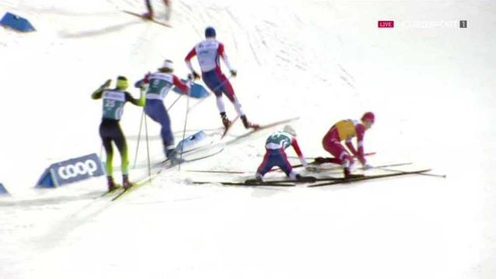 Сбитый норвежцем брянский лыжник Большунов лишился финала в спринте