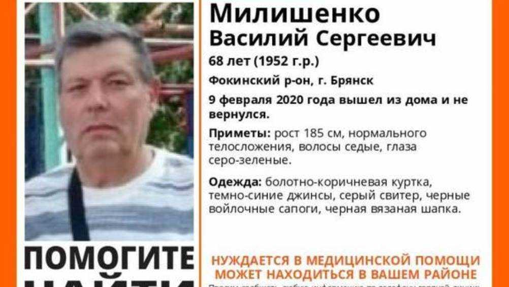 Найден погибшим пропавший в Брянске 68-летний Василий Милишенко