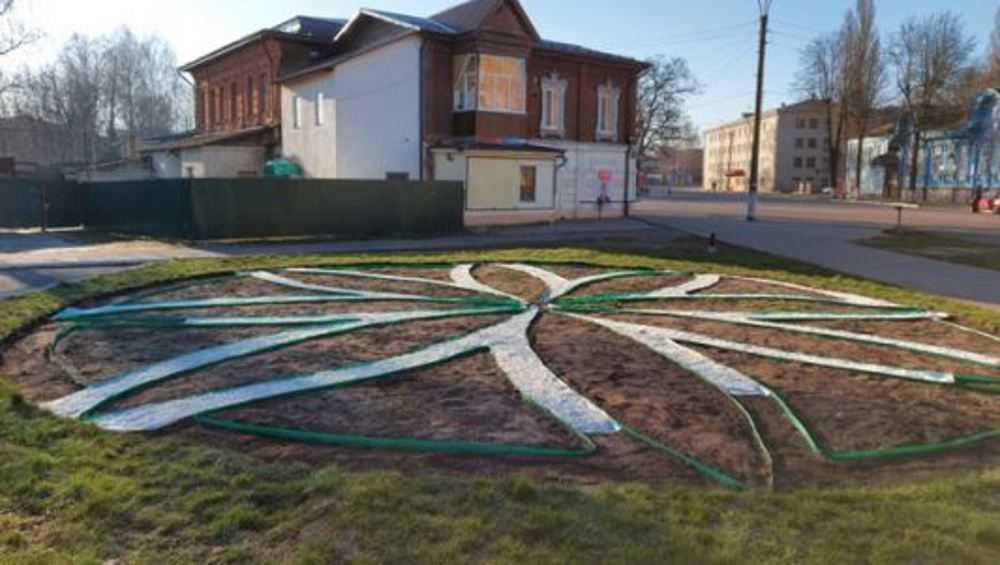 В Новозыбкове разбили необычную клумбу в форме соцветия