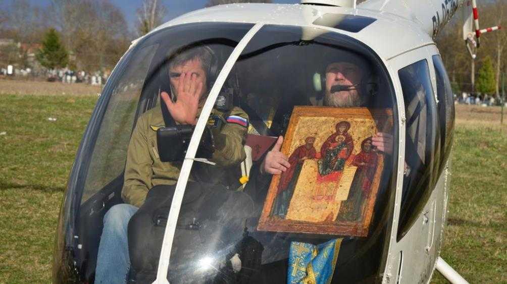 Над Брянском пролетел вертолёт со Свенской иконой Божией Матери