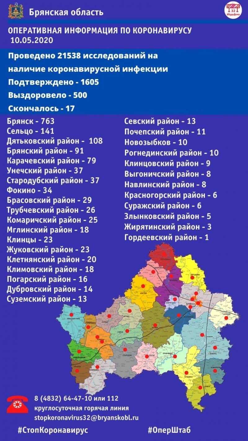 Обновилась статистика по COVID-19 в Брянской области