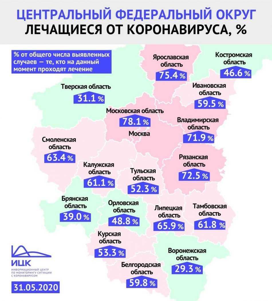 В Брянской области от коронавируса лечатся 39 процентов больных
