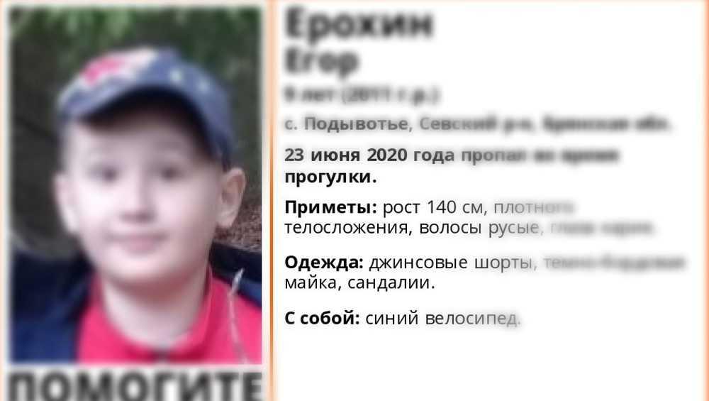 В Брянской области нашли живым пропавшего 9-летнего Егора Ерохина