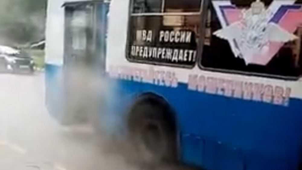 В Брянске задымился троллейбус 1-го маршрута