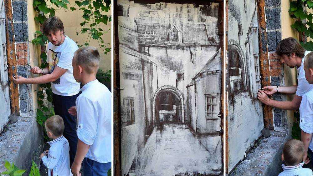 В доме на набережной художник гвоздем выцарапал вид старого Брянска