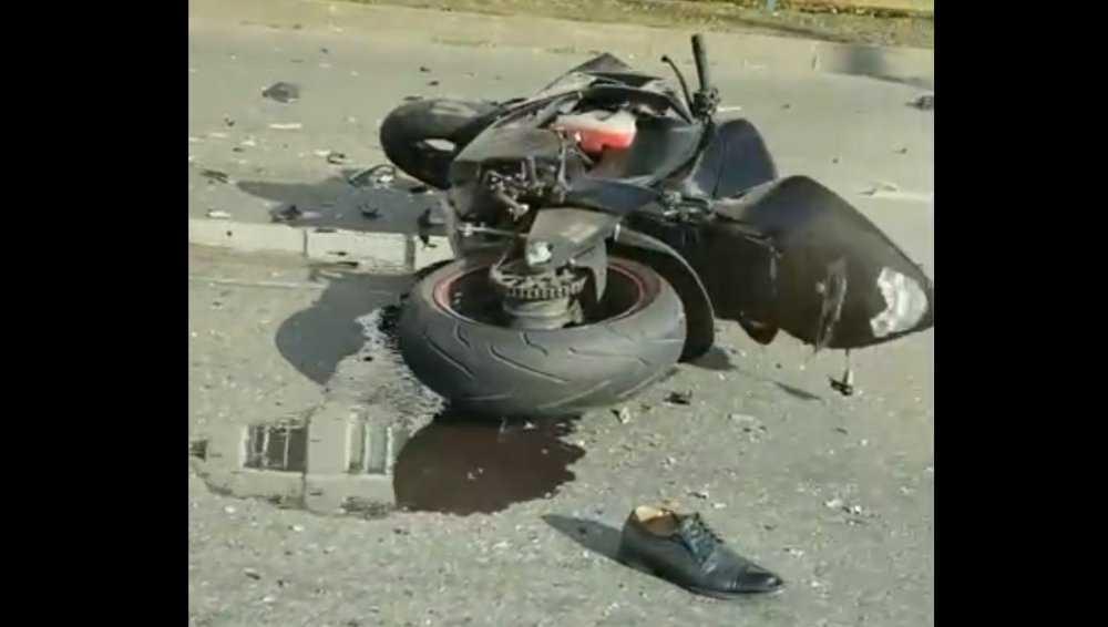 В Брянске сняли видео ДТП с мотоциклом на проспекте Станке Димитрова