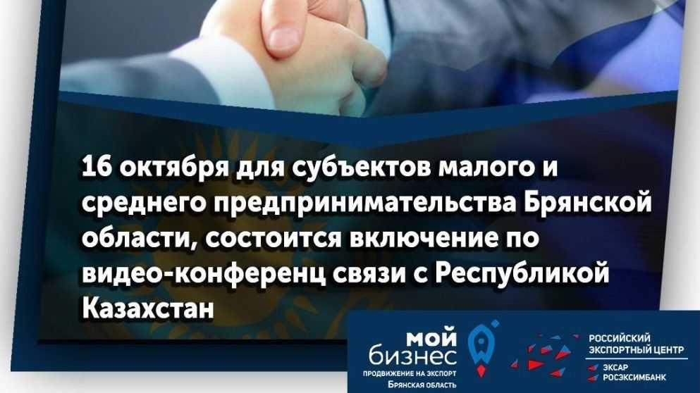 Брянские предприниматели обсудят экспорт с казахскими коллегами через «Мой бизнес»