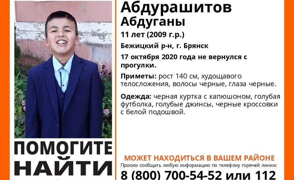 В Бежицком районе Брянска 17 октября пропал 11-летний школьник