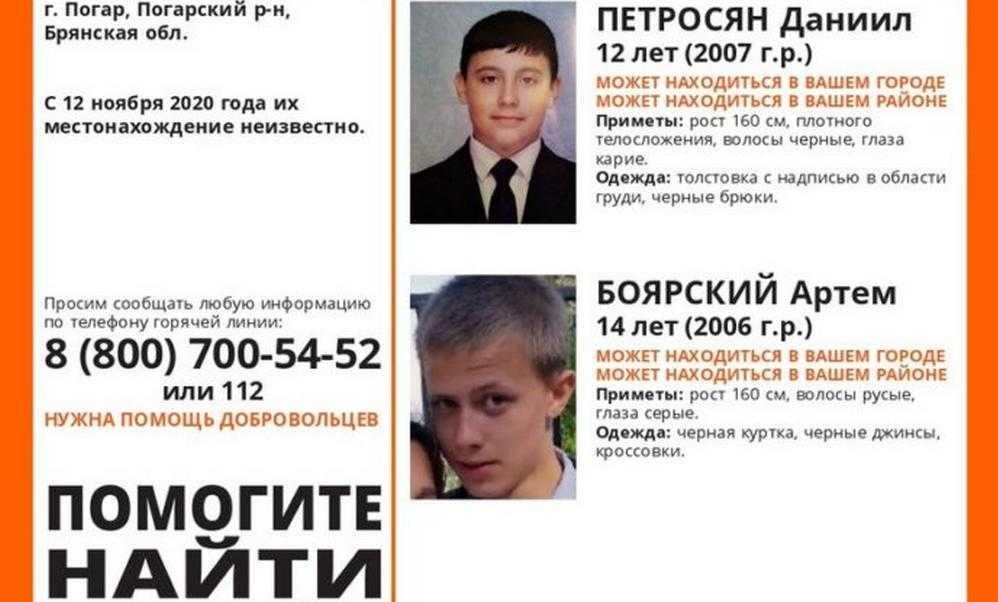 Брянцев призвали помочь в поисках двоих пропавших мальчиков