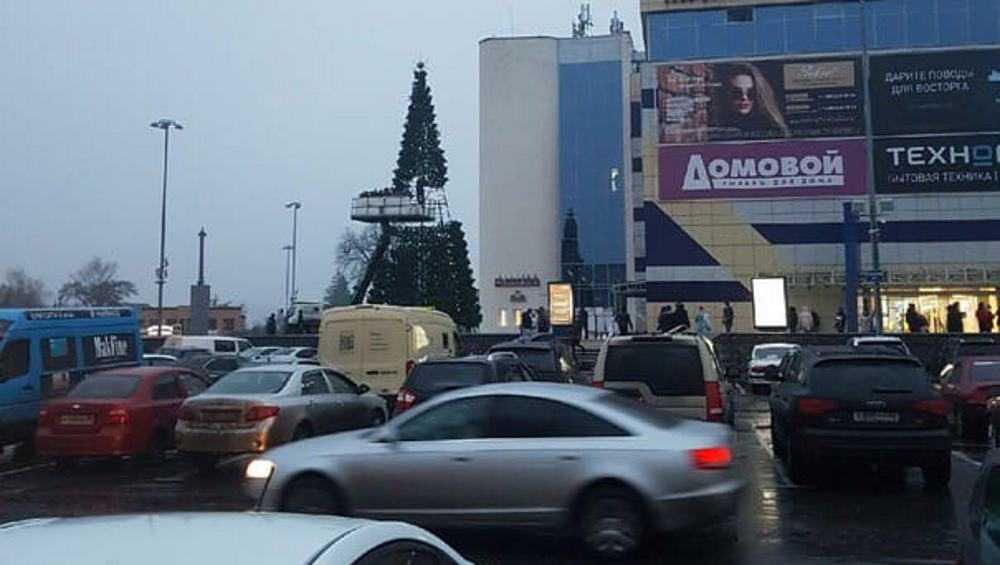 В Брянске возле ТРЦ «БУМ-сити» установили новогоднюю елку-конус