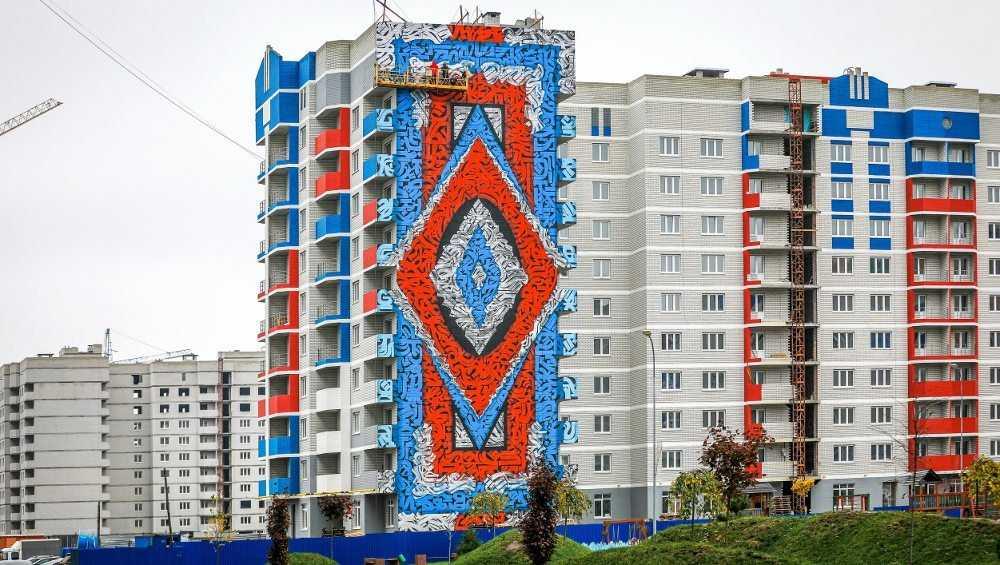 На фасаде многоэтажного дома в Брянске нарисовали первый мурал