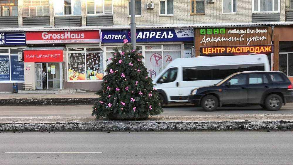 Дорогу на Авиационной улице Брянска украсили елочками