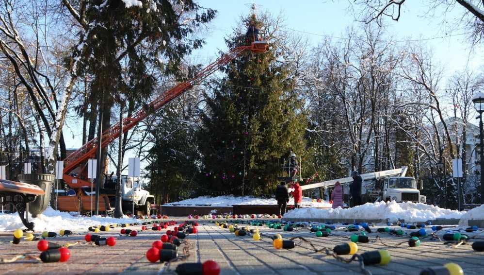 В Круглом сквере Брянска начали украшать главную новогоднюю ёлку
