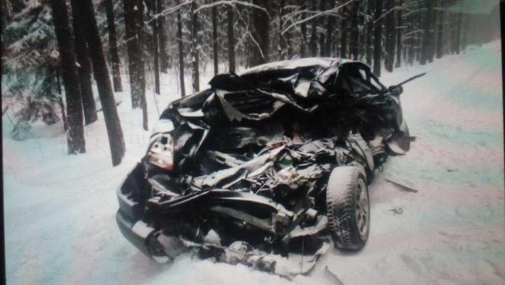 Под Брянском женщина на Renault врезалась в грузовик и разбила голову