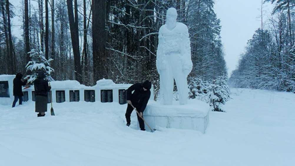 Под Брянском осужденные подростки очистили от снега стоянку Виноградова