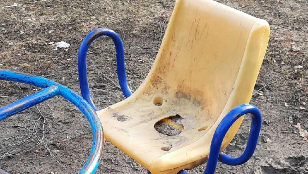 Жительницу Дятькова неприятно удивили качели в городском парке