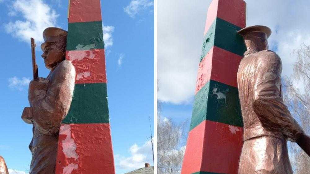 В Новозыбкове с открытого в 2020 году памятника пограничникам облезла краска