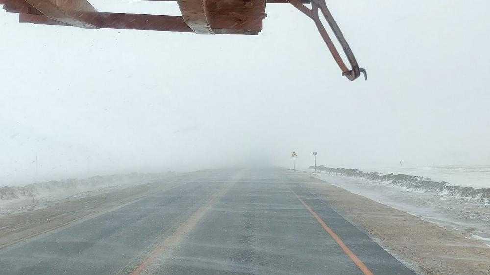 Из-за снежного бурана видимость на трассе в Брянской области резко снизилась