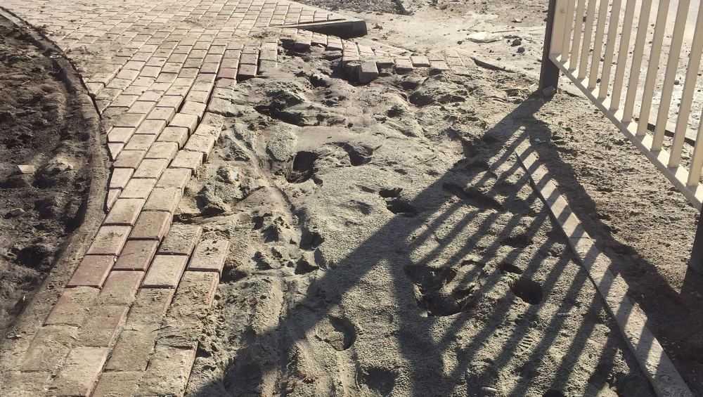 В Брянске провалился новый тротуар возле школы № 71