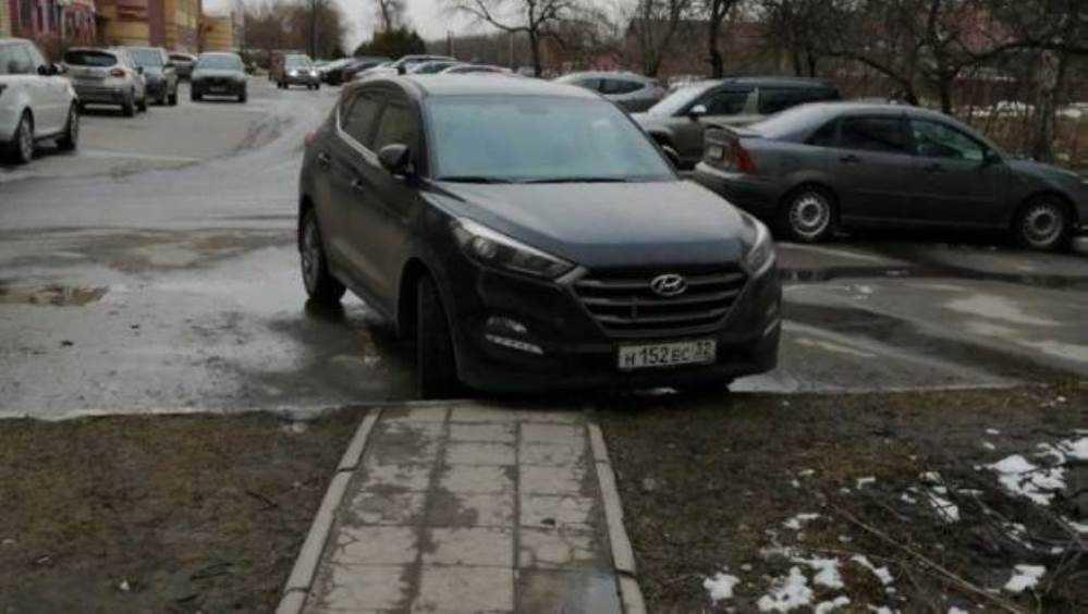 Жители Брянска призвали наказать перегородившего тротуар водителя
