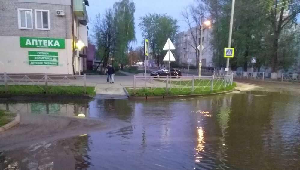 В Бежицком районе Брянска затопило дорогу возле школы  39