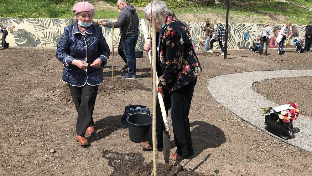В Брянске при посадке яблонь в Саду Победы отличились две пенсионерки