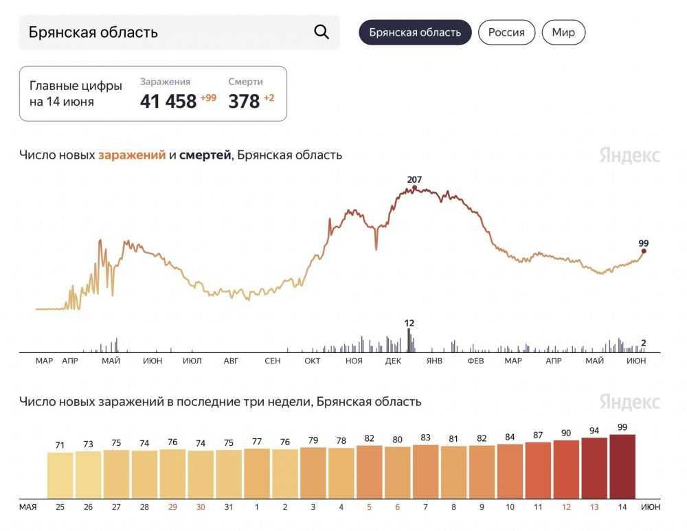 В Брянской области с начала июня сообщили о 20 смертях от коронавируса