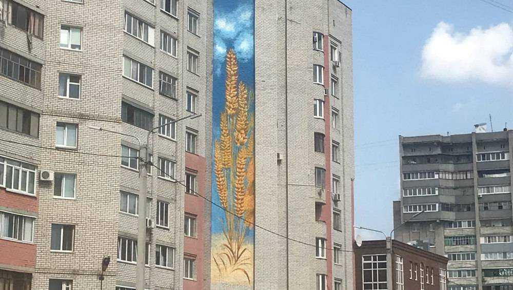 В Брянске мурал в виде пшеницы украсил стену дома в Бежицком районе