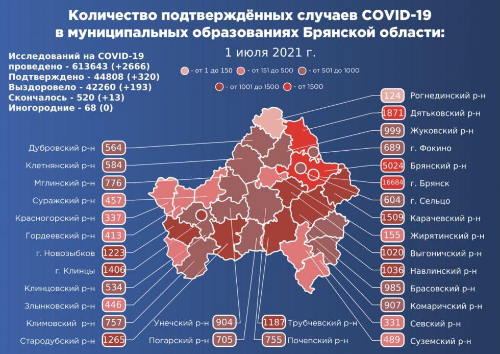 С 1 июня в Брянской области заразились коронавирусом почти 12 тысяч человек
