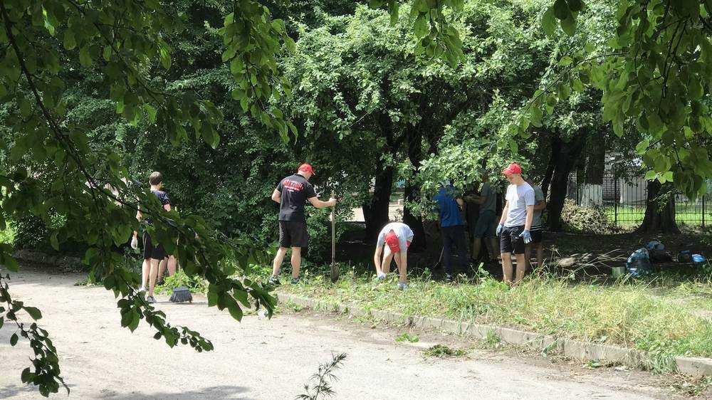 Брянские богатыри спортивной школы «Витязь» убрали территорию возле детсада
